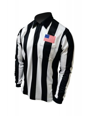 """Honig's 2.25"""" Striped Ultra Tech Long Sleeve Football Shirt With Sublimated Flag on Left Chest"""
