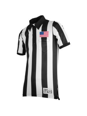 "Honig's 2"" Striped Ultra Tech Short Sleeve Football Shirt with Sublimated Flag  on Left Chest"