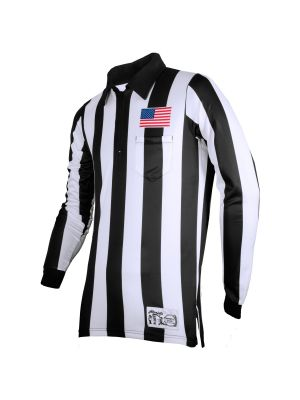 "Honig's 2"" Striped Ultra Tech Long Sleeve Football Shirt with Sublimated Flag  on Left Chest"