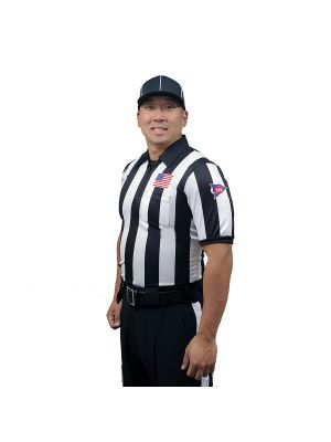 "2"" Stripe SS Ultra Tech Football Shirt w/ sublimated Flag, and CFO Patch - non sublimated Placket"