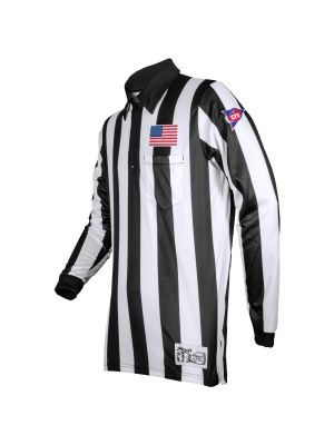 "2"" Stripe LS Ultra Tech Football Shirt w/ sublimated Flag, and CFO Patch - non sublimated Placket"